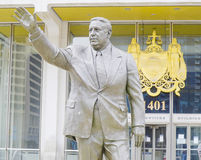弗兰克里佐英雄恶棍市长雕象在费城-费城-宾夕法尼亚- 2017年4月6日 库存照片