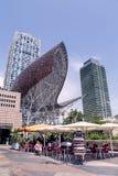 弗兰克Gehry's金黄鱼在巴塞罗那的维拉Olimpica 库存照片