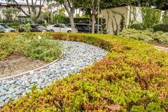 贝弗利庭院停放尼斯被整理的灌木、花和石头在房子,前院前面 设计高例证横向计划图表分解力 库存照片