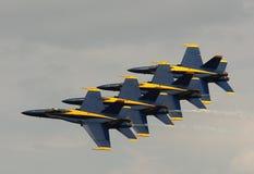 弗吉尼亚海滩, VA - 5月17日:在F-18大黄蜂飞机的美国海军蓝色天使在VA海滩的飞行表演惯例, 2010年5月17日的VA执行。 库存图片