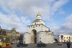 弗拉基米尔,俄罗斯-05 11 2015年 金黄的门 免版税库存照片