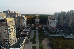 弗拉基米尔,基辅的城市居民教会的鸟瞰图  免版税库存照片