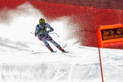 弗朗兹最大在奥迪FIS高山滑雪世界杯-下坡的人的 免版税图库摄影
