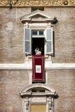 弗朗切斯科教皇出现于窗口 2014年12月8日 洁净的构想 免版税库存图片