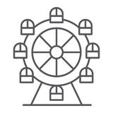 弗累斯大转轮稀薄的线象,游艺集市和娱乐,转盘标志,向量图形,在白色的一个线性样式 向量例证