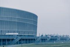 弗罗茨瓦夫体育场,冷的口气背景 库存照片