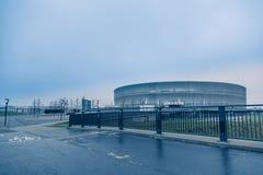 弗罗茨瓦夫体育场,冷的口气背景 免版税库存照片