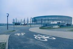 弗罗茨瓦夫体育场,冷的口气背景 免版税库存图片