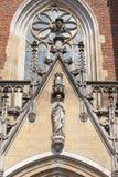 弗罗茨瓦夫圣约翰大教堂大教堂浸礼会教友,在Ostrow Tumski海岛,门面,弗罗茨瓦夫,波兰上的哥特式样式教会 库存照片