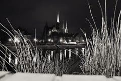 弗罗茨瓦夫大教堂海岛晚上视图  库存照片