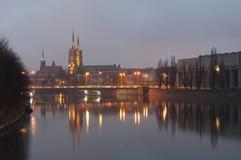 弗罗茨瓦夫大教堂,弗罗茨瓦夫的圣徒约翰斯浸礼会大教堂, 库存图片