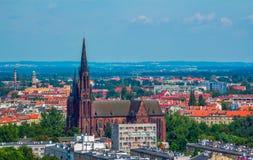弗罗茨瓦夫空中全景都市风景  免版税图库摄影