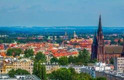 弗罗茨瓦夫空中全景都市风景  图库摄影