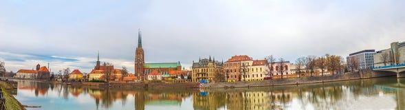 弗罗茨瓦夫老市全景 免版税图库摄影