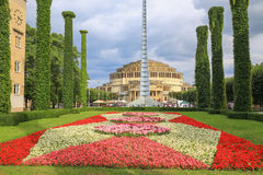 弗罗茨瓦夫,历史建筑学百年霍尔,公园,波兰 免版税库存照片