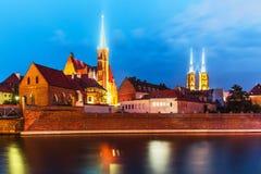 弗罗茨瓦夫,波兰夜视图  库存照片