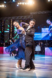 弗罗茨瓦夫,波兰- 2016年5月14日:在舞蹈姿势的一对未认出的舞蹈夫妇在世界期间跳舞体育联盟欧洲人Championsh 免版税库存照片