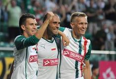 弗罗茨瓦夫,波兰- 7月18 :UEFA欧罗巴同盟,在比分以后的Paixao目标, Slask弗罗茨瓦夫对7月18日的Rudar Pljevlja : 2013年在Wroc 库存照片