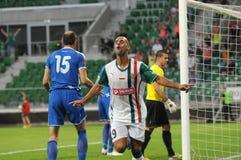 弗罗茨瓦夫,波兰- 7月18 :UEFA欧罗巴同盟,在比分以后的Paixao第二个目标, Slask弗罗茨瓦夫对7月18日的Rudar Pljevlja : 2013年 图库摄影