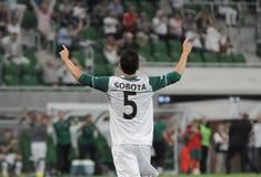弗罗茨瓦夫,波兰- 7月18 :UEFA欧罗巴同盟,在比分以后的Sobota目标, Slask弗罗茨瓦夫对7月18日的Rudar Pljevlja : 2013年在Wroc 库存图片