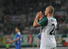 弗罗茨瓦夫,波兰- 7月18 :UEFA欧罗巴同盟,在目标, Slask弗罗茨瓦夫的Kazimierczak关闭对7月18日的Rudar普列夫利亚: 2013年在W 库存图片
