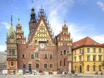弗罗茨瓦夫,都市风景 城镇厅 免版税库存图片