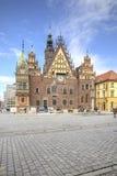 弗罗茨瓦夫,都市风景 城镇厅 免版税图库摄影