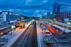 弗莱堡Hauptbahnhof火车站,德国 免版税库存照片