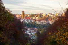弗里堡市的美丽的景色,瑞士 免版税库存图片