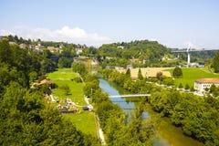 弗里堡,城市的绿地风景  图库摄影