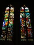 弗里堡,瑞士- 2012年6月26日:彩色玻璃波兰画家创造的Windows,约瑟夫Mehoffer,在1896和1936年之间 免版税库存照片
