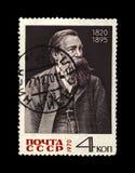 弗里德里希・恩格斯1820-1895,著名政客领导,苏联,大约1970年, 免版税库存照片