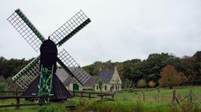 弗里斯兰省人农场和风水车 图库摄影