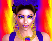 弗里达Kahlo、五颜六色的秀丽和时尚数字式艺术的精神 免版税库存图片