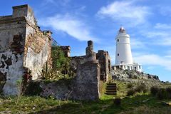 弗洛勒斯海岛和他的灯塔 图库摄影