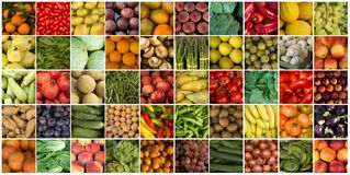50张不同菜和果子拼贴画 库存照片