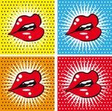 张开性感的湿红色嘴唇有牙流行艺术集合背景 免版税库存照片