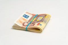 50张欧元票据 库存照片