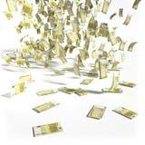 200张欧洲票据金钱雨  免版税库存照片