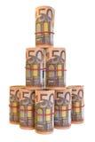 50张欧洲钞票卷  库存照片