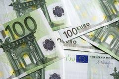 100张欧洲钞票的特写镜头 免版税图库摄影