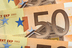 50张欧洲钞票背景 免版税库存图片