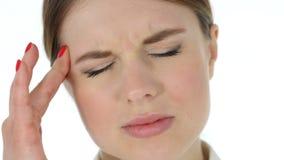 紧张的妇女面孔,头疼 股票录像