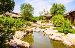 张的庄园公园场面庄园` s庭院 免版税库存照片