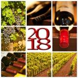 2018张红葡萄酒正方形照片拼贴画贺卡 免版税图库摄影