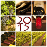 2015张红葡萄酒正方形照片 库存图片