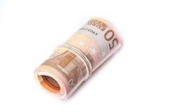 50张被包裹和滚动的欧洲钞票堆 库存照片
