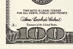 $100张钞票的片段 一一百美元笔记的增加的部分 钞票美元一百一 免版税库存图片