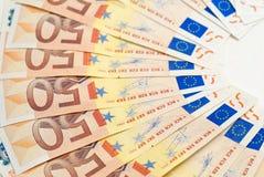 50张颠倒欧洲钞票爱好者 库存照片