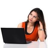 紧张年轻亚裔妇女 免版税库存图片